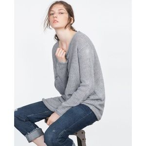 Zara Grey Chunky Ribbed Knit Rolled Neck Sweater